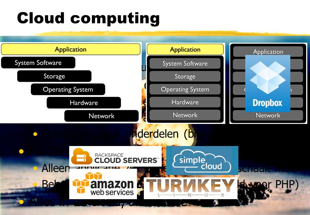 Cloud computing The cloud = PaaS + IaaS + SaaS