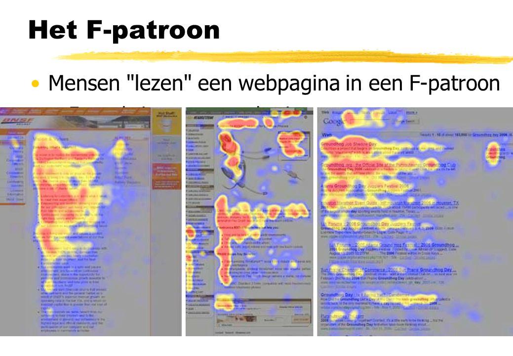 Het F-patroon Mensen lezen een webpagina in een F-patroon