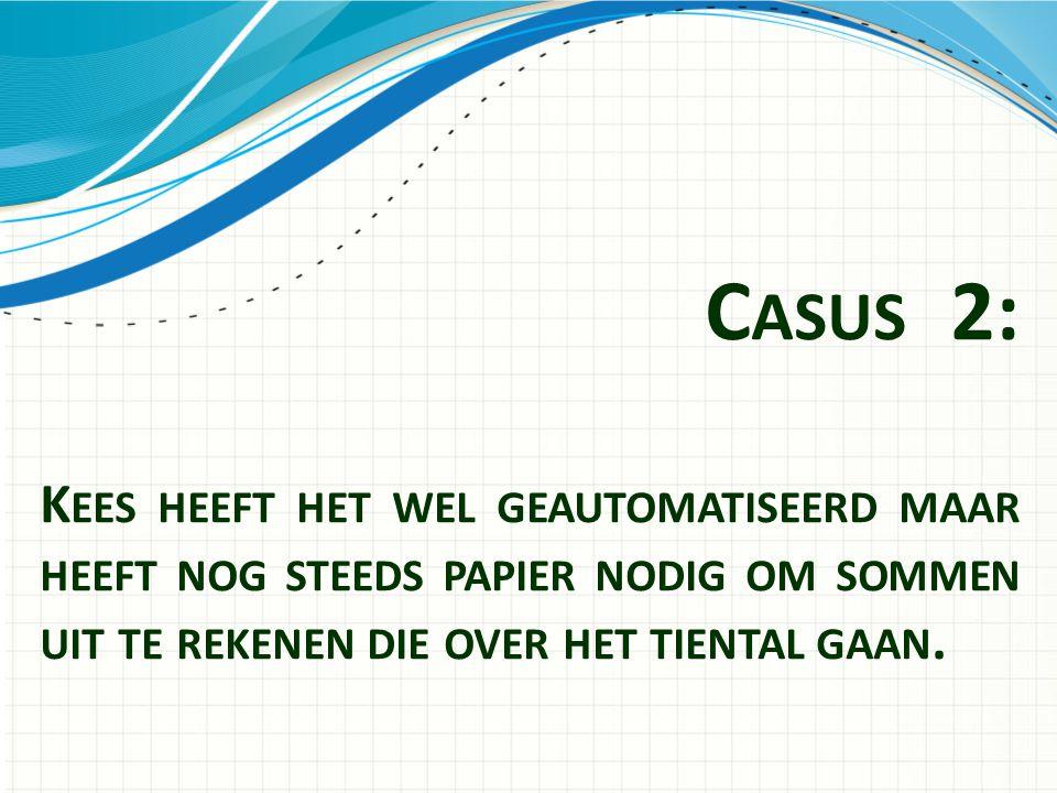 Casus 2: Kees heeft het wel geautomatiseerd maar heeft nog steeds papier nodig om sommen uit te rekenen die over het tiental gaan.