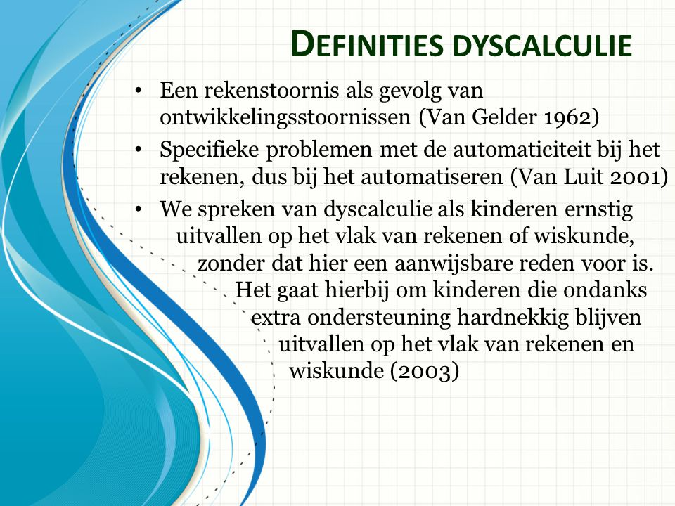 Definities dyscalculie