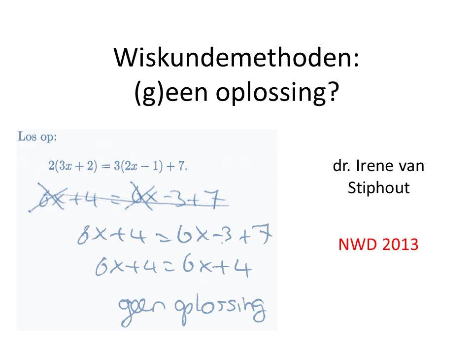 Wiskundemethoden: (g)een oplossing