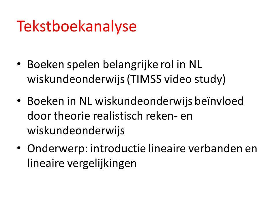 Tekstboekanalyse Boeken spelen belangrijke rol in NL wiskundeonderwijs (TIMSS video study)