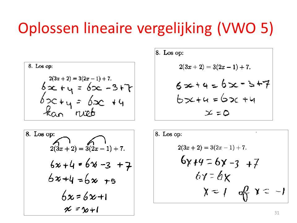 Oplossen lineaire vergelijking (VWO 5)