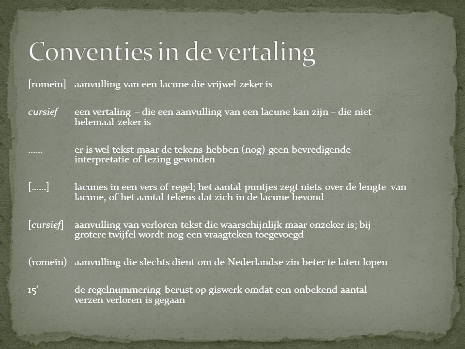 Conventies in de vertaling