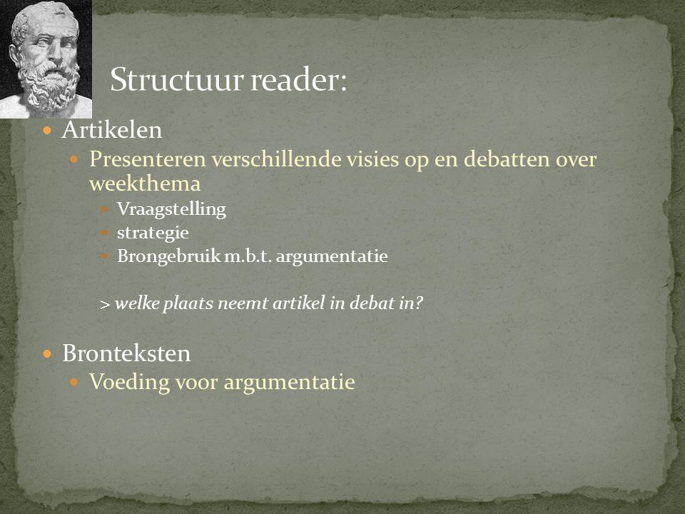 Structuur reader: Artikelen Bronteksten