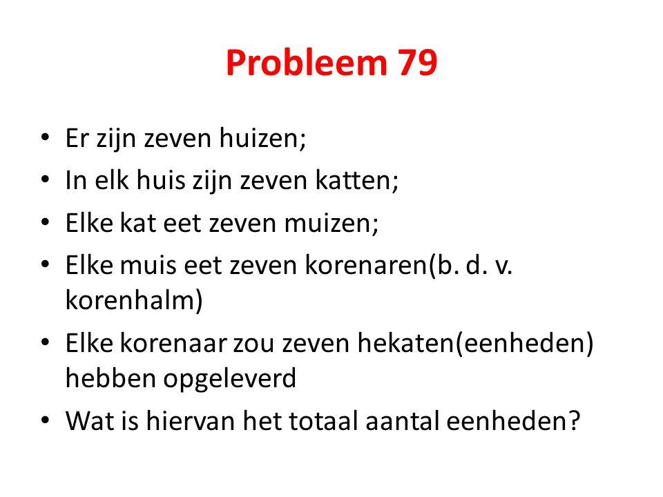 Probleem 79 Er zijn zeven huizen; In elk huis zijn zeven katten;
