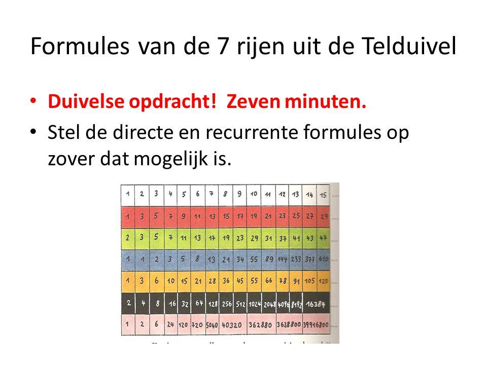Formules van de 7 rijen uit de Telduivel