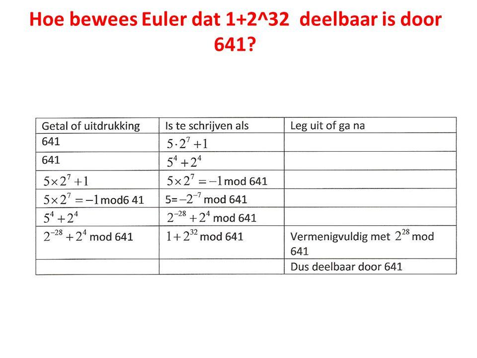 Hoe bewees Euler dat 1+2^32 deelbaar is door 641