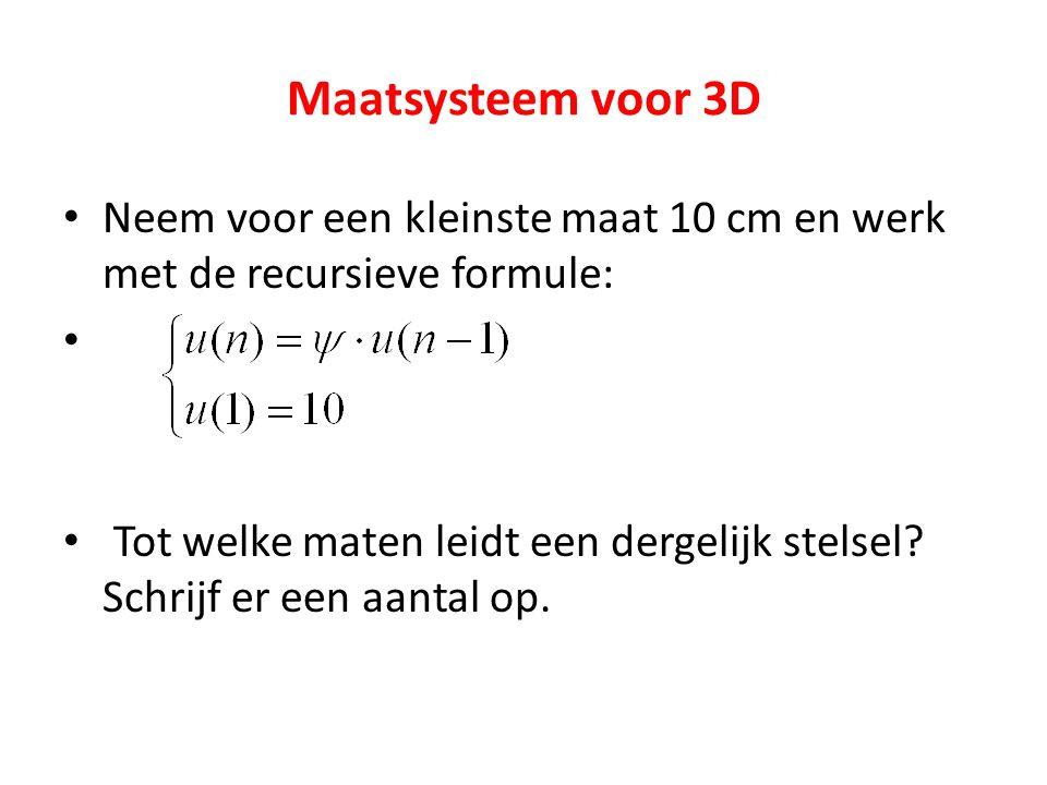 Maatsysteem voor 3D Neem voor een kleinste maat 10 cm en werk met de recursieve formule: