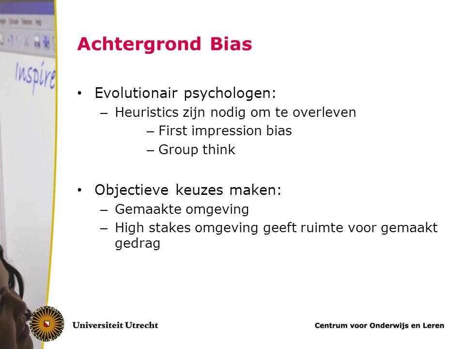 Achtergrond Bias Evolutionair psychologen: Objectieve keuzes maken:
