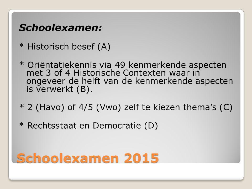 Schoolexamen 2015 Schoolexamen: * Historisch besef (A)