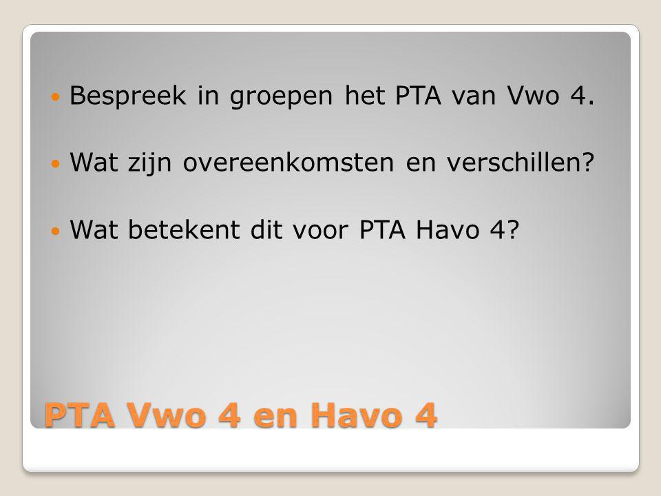 PTA Vwo 4 en Havo 4 Bespreek in groepen het PTA van Vwo 4.