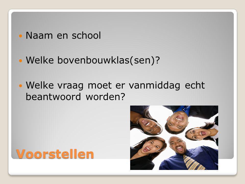 Voorstellen Naam en school Welke bovenbouwklas(sen)