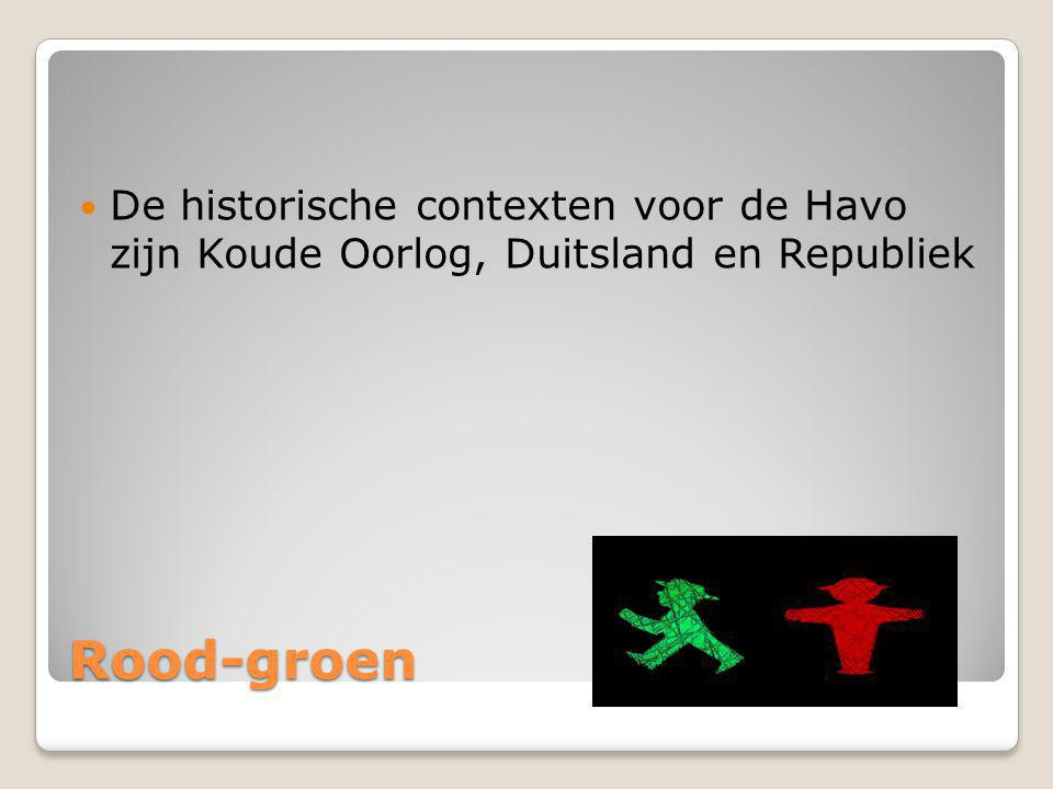 De historische contexten voor de Havo zijn Koude Oorlog, Duitsland en Republiek