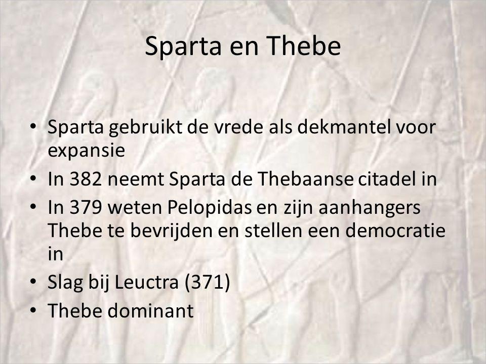 Sparta en Thebe Sparta gebruikt de vrede als dekmantel voor expansie