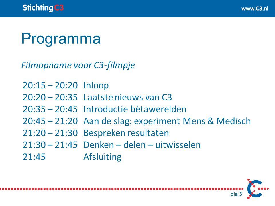 Programma Filmopname voor C3-filmpje 20:15 – 20:20 Inloop
