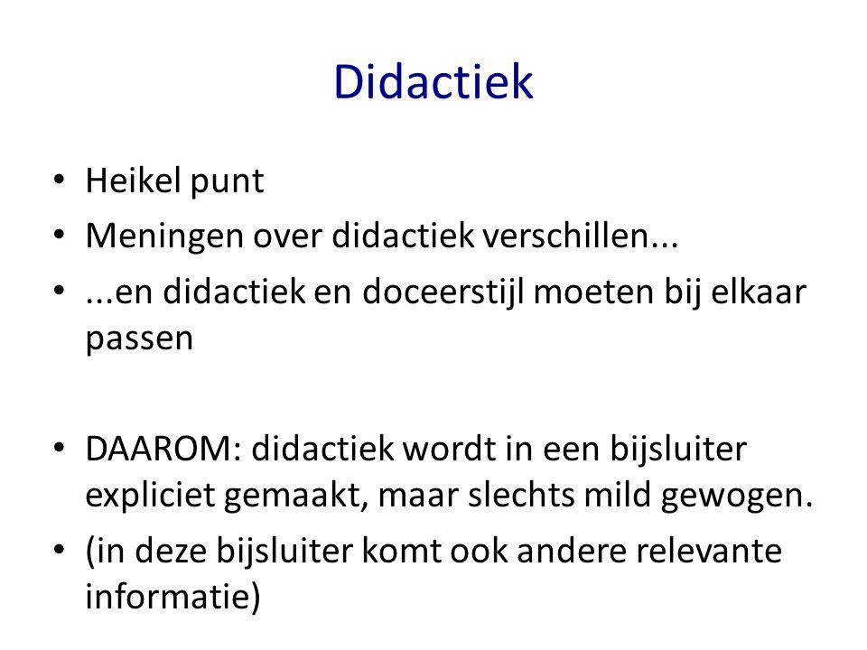 Didactiek Heikel punt Meningen over didactiek verschillen...