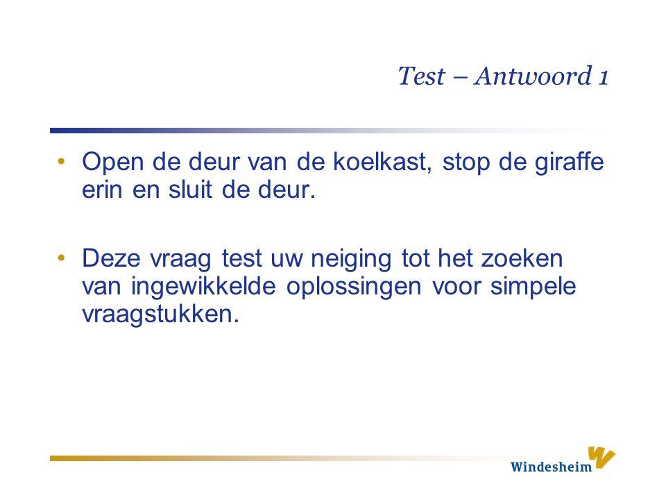 Test – Antwoord 1 Open de deur van de koelkast, stop de giraffe erin en sluit de deur.