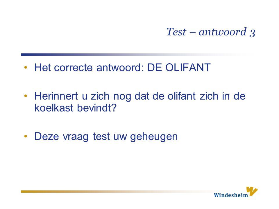 Test – antwoord 3 Het correcte antwoord: DE OLIFANT. Herinnert u zich nog dat de olifant zich in de koelkast bevindt