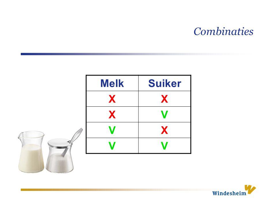 Combinaties Melk Suiker X V