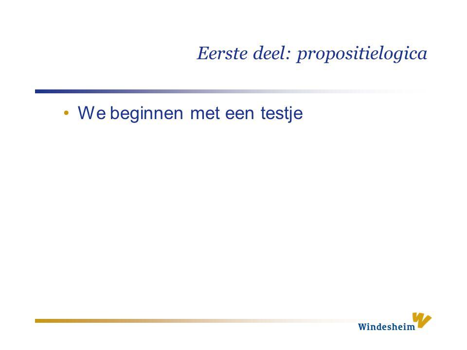 Eerste deel: propositielogica