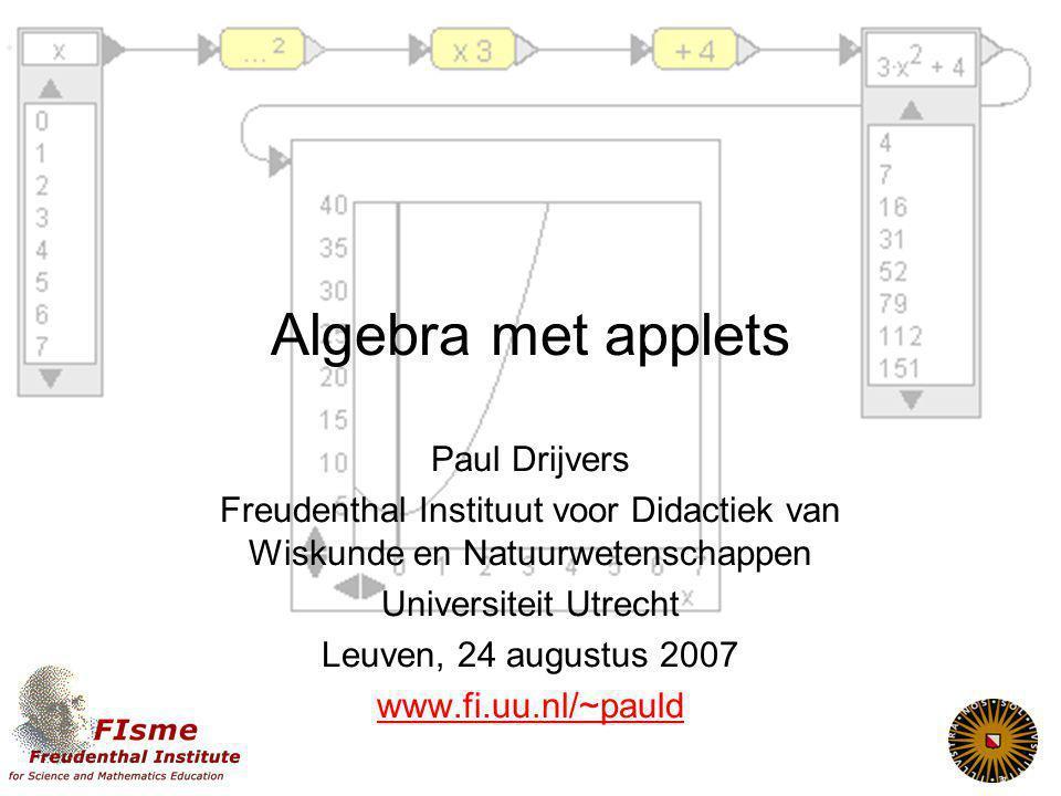 Algebra met applets Paul Drijvers