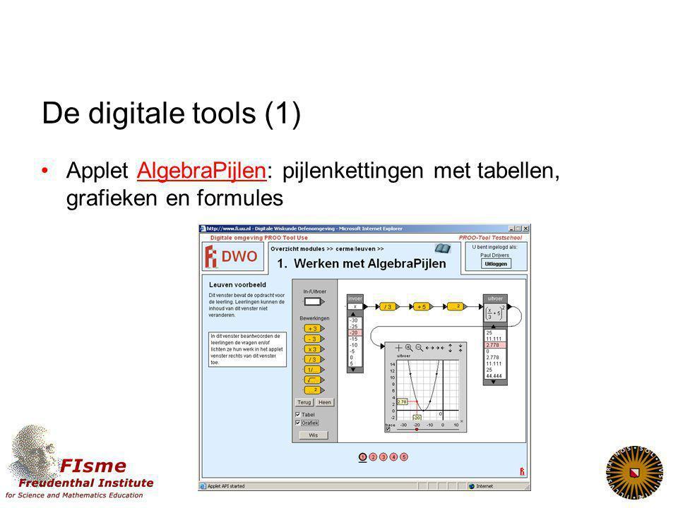 De digitale tools (1) Applet AlgebraPijlen: pijlenkettingen met tabellen, grafieken en formules