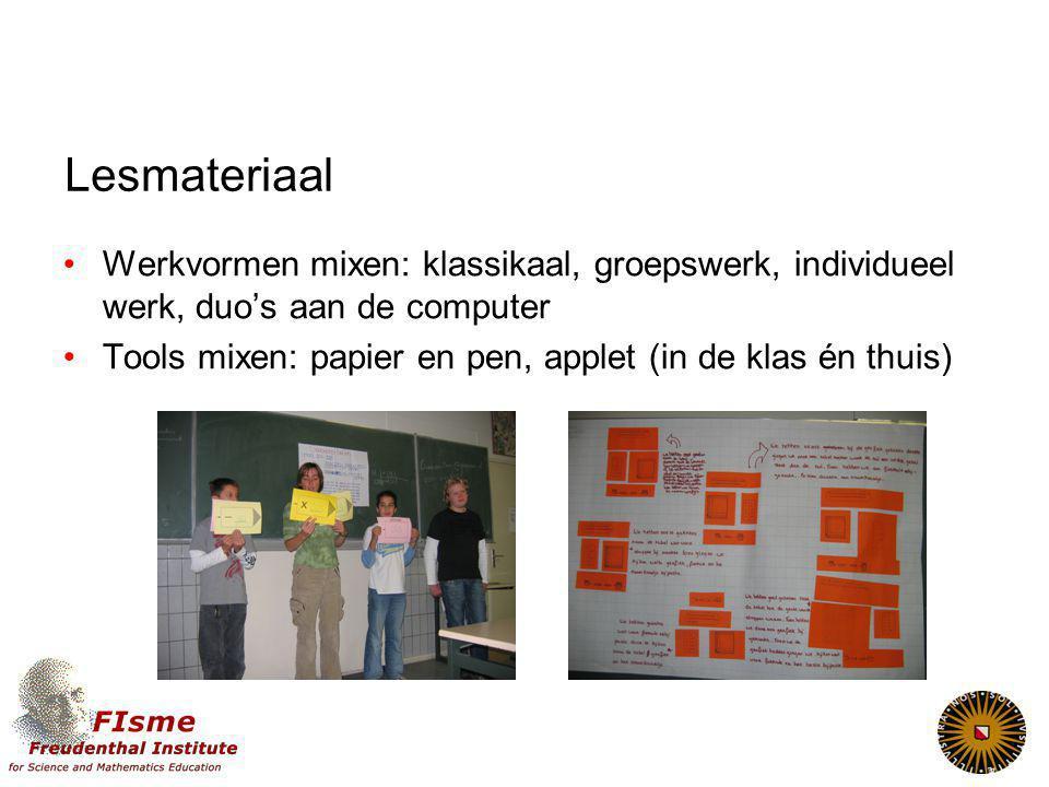 Lesmateriaal Werkvormen mixen: klassikaal, groepswerk, individueel werk, duo's aan de computer.