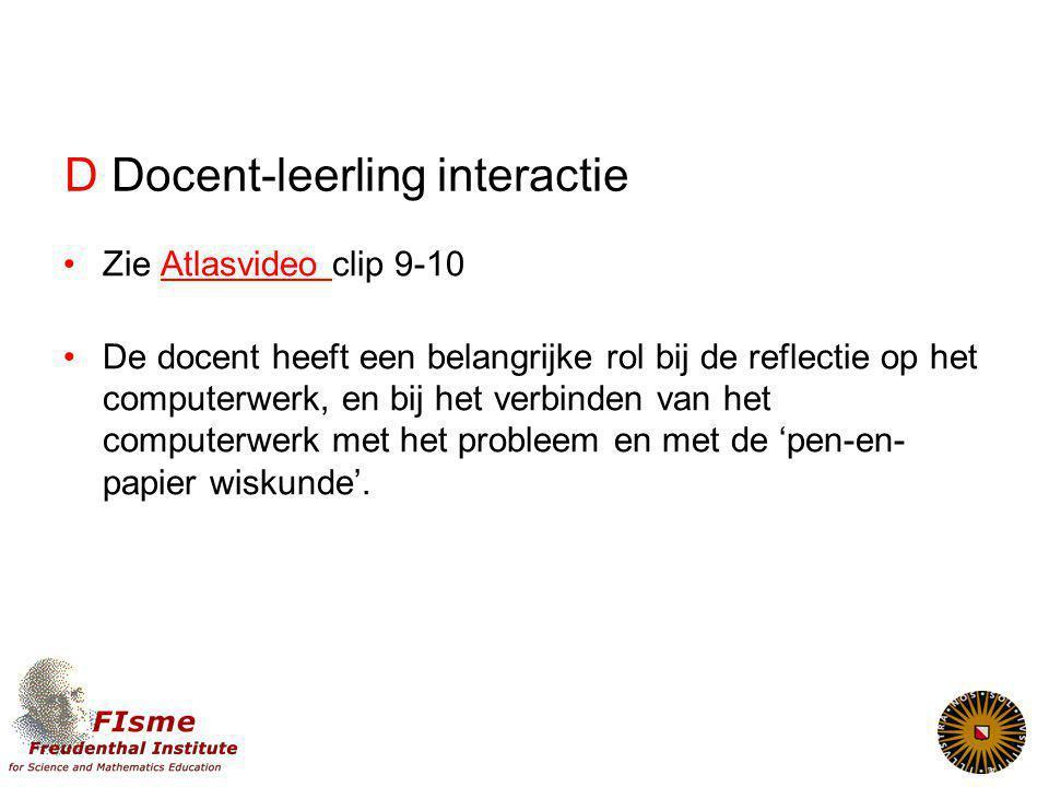 D Docent-leerling interactie