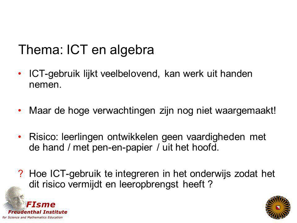 Thema: ICT en algebra ICT-gebruik lijkt veelbelovend, kan werk uit handen nemen. Maar de hoge verwachtingen zijn nog niet waargemaakt!