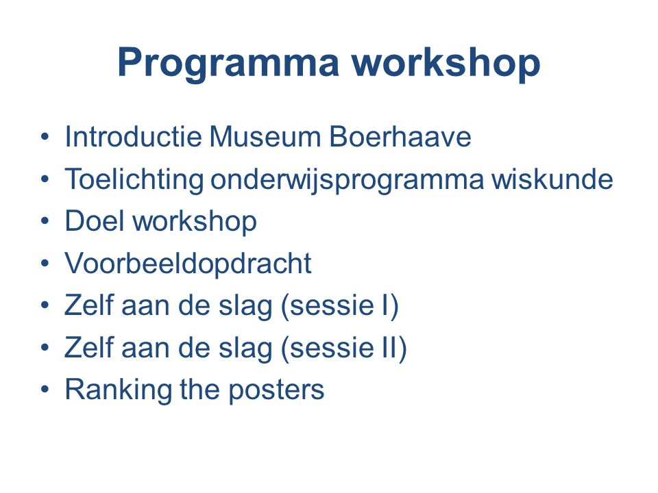 Programma workshop Introductie Museum Boerhaave