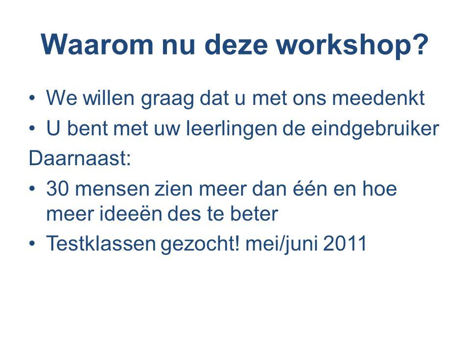 Waarom nu deze workshop