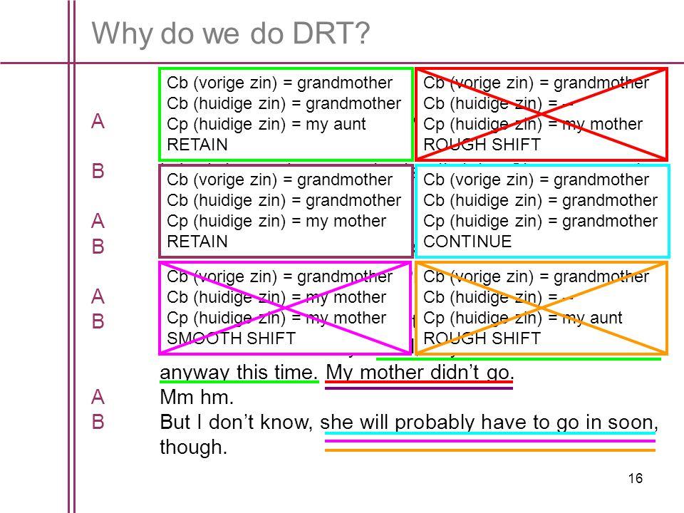 Why do we do DRT Cb (vorige zin) = grandmother. Cb (huidige zin) = grandmother. Cp (huidige zin) = my aunt.