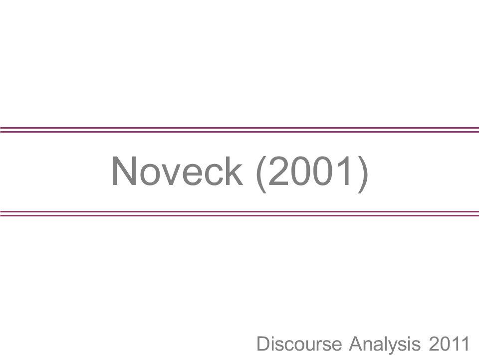Noveck (2001) Discourse Analysis 2011