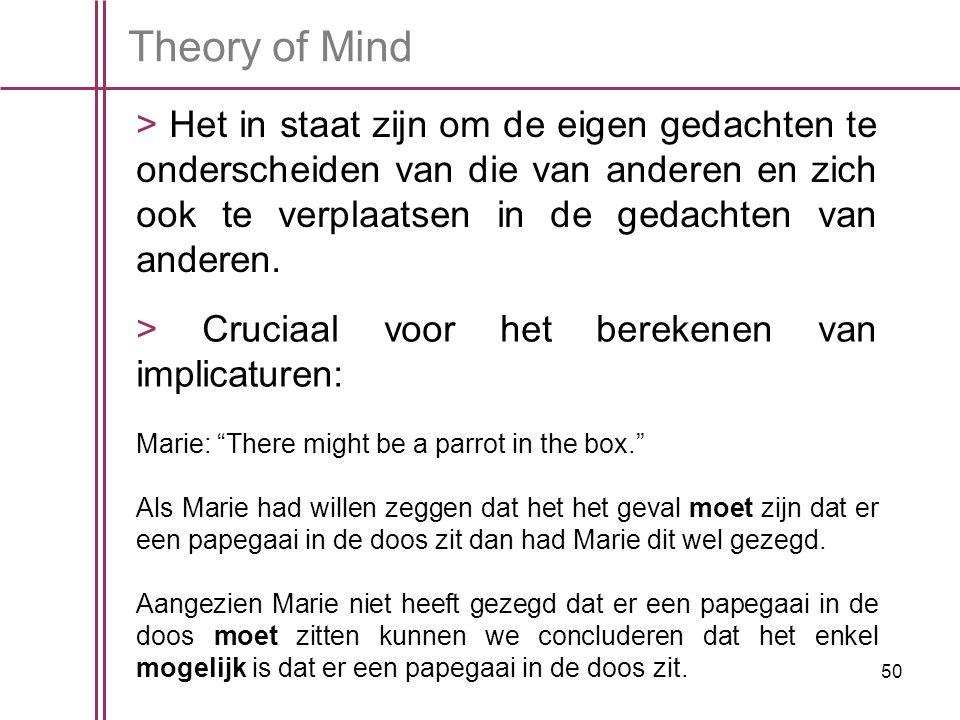 Theory of Mind > Het in staat zijn om de eigen gedachten te onderscheiden van die van anderen en zich ook te verplaatsen in de gedachten van anderen.