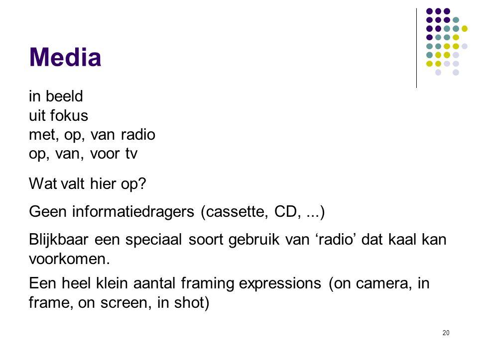 Media in beeld uit fokus met, op, van radio op, van, voor tv