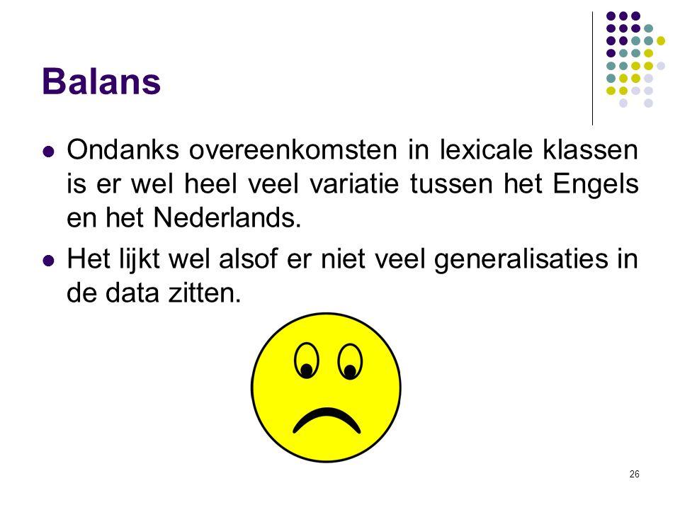 Balans Ondanks overeenkomsten in lexicale klassen is er wel heel veel variatie tussen het Engels en het Nederlands.