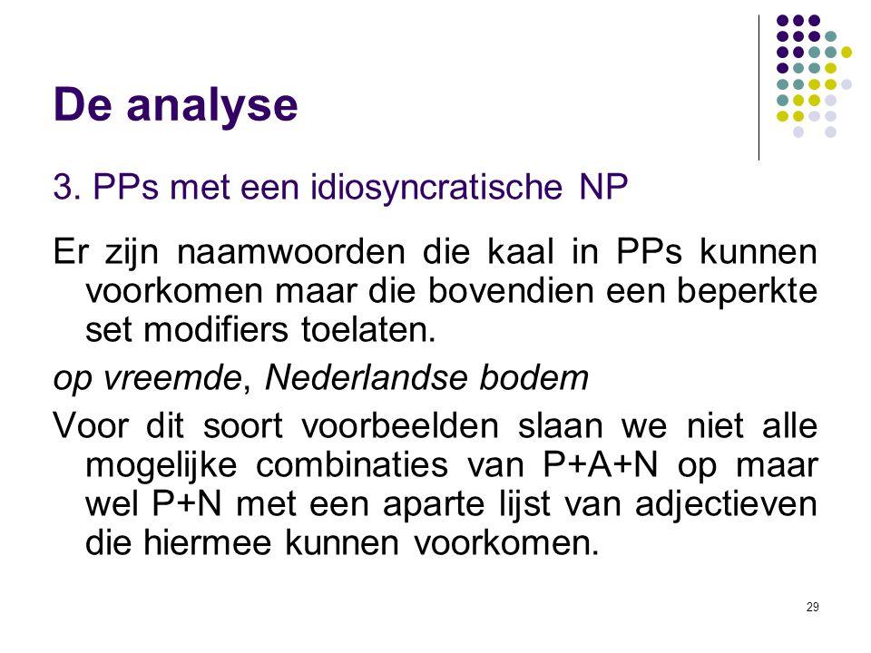 De analyse 3. PPs met een idiosyncratische NP