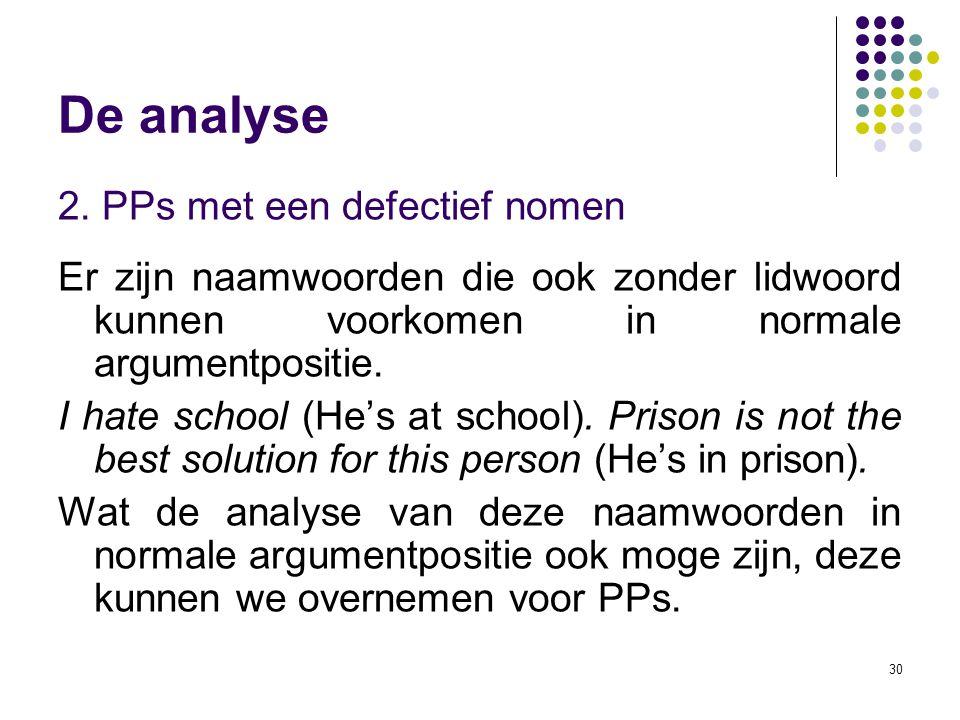 De analyse 2. PPs met een defectief nomen