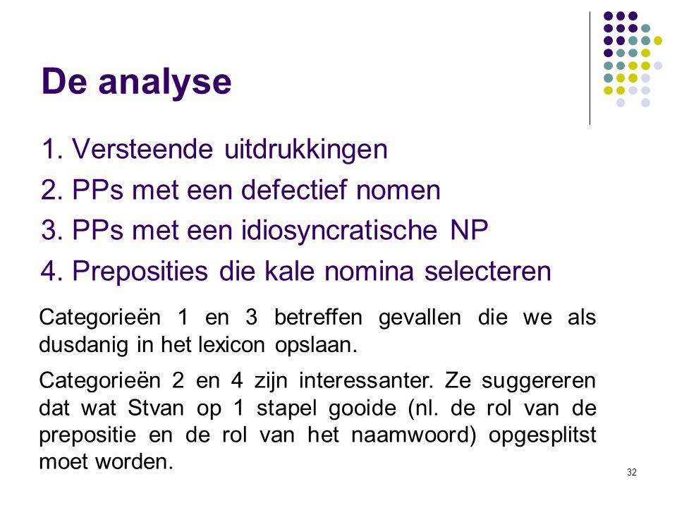 De analyse 1. Versteende uitdrukkingen 2. PPs met een defectief nomen