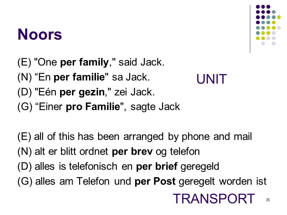 Noors UNIT TRANSPORT (E) One per family, said Jack.