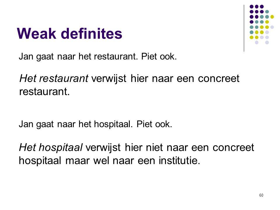 Weak definites Jan gaat naar het restaurant. Piet ook. Het restaurant verwijst hier naar een concreet restaurant.