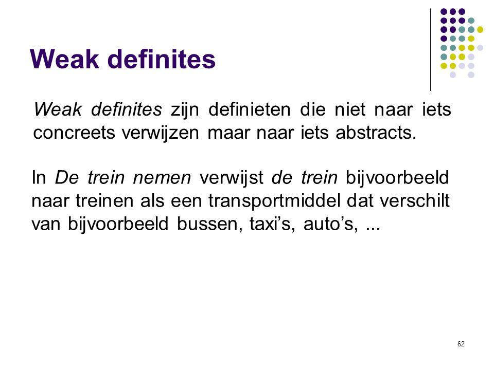 Weak definites Weak definites zijn definieten die niet naar iets concreets verwijzen maar naar iets abstracts.