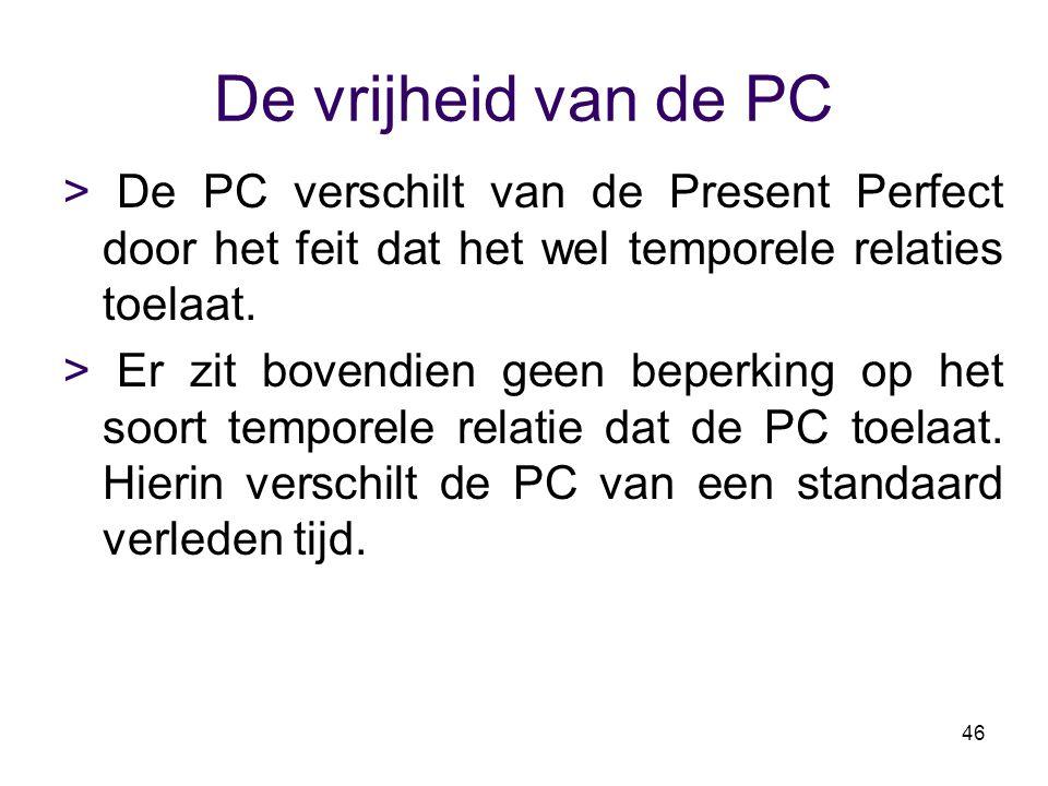 De vrijheid van de PC > De PC verschilt van de Present Perfect door het feit dat het wel temporele relaties toelaat.