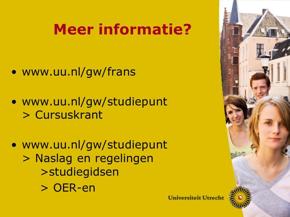 Meer informatie www.uu.nl/gw/frans