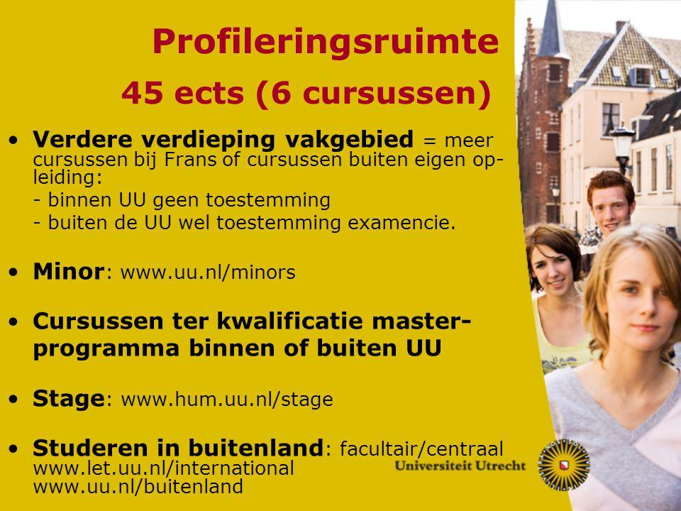 Profileringsruimte 45 ects (6 cursussen)