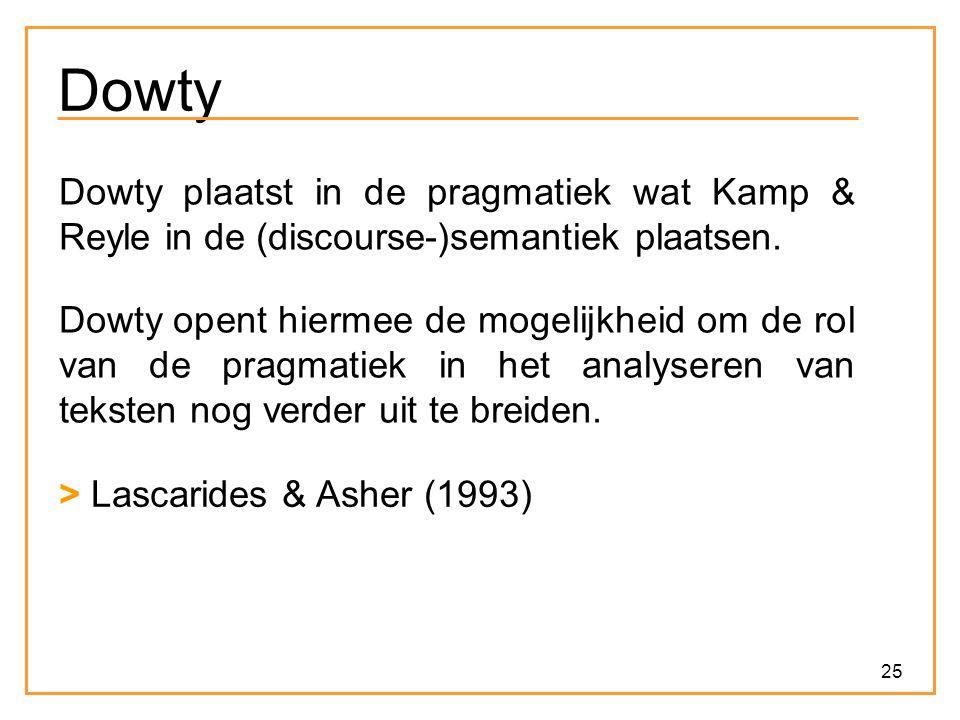 Dowty Dowty plaatst in de pragmatiek wat Kamp & Reyle in de (discourse-)semantiek plaatsen.