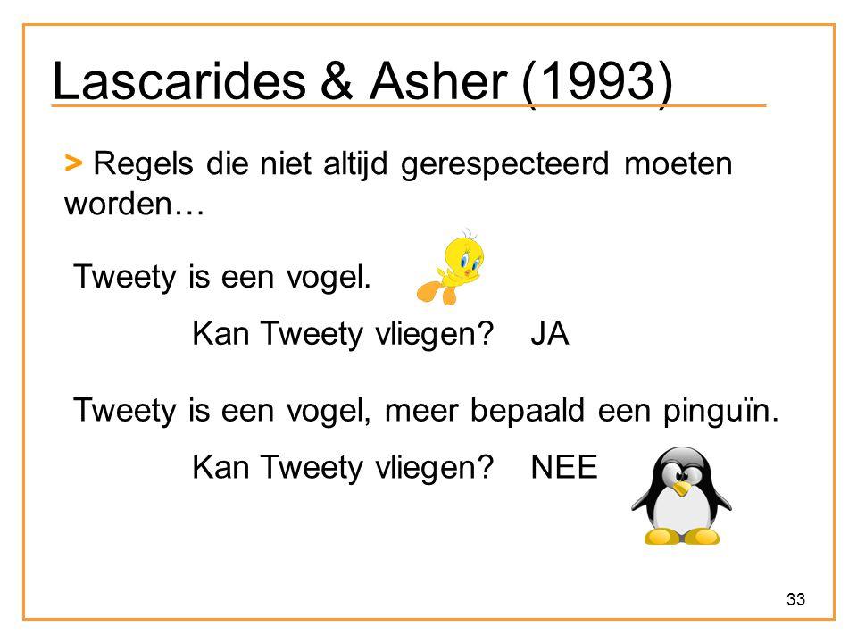 Lascarides & Asher (1993) > Regels die niet altijd gerespecteerd moeten worden… Tweety is een vogel.