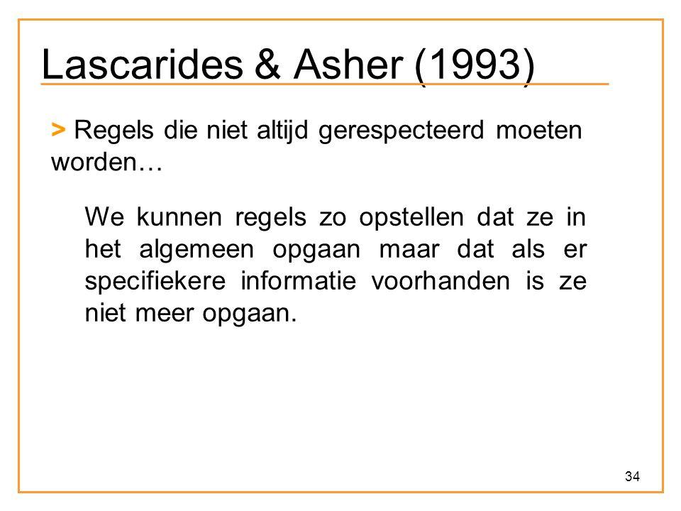 Lascarides & Asher (1993) > Regels die niet altijd gerespecteerd moeten worden…