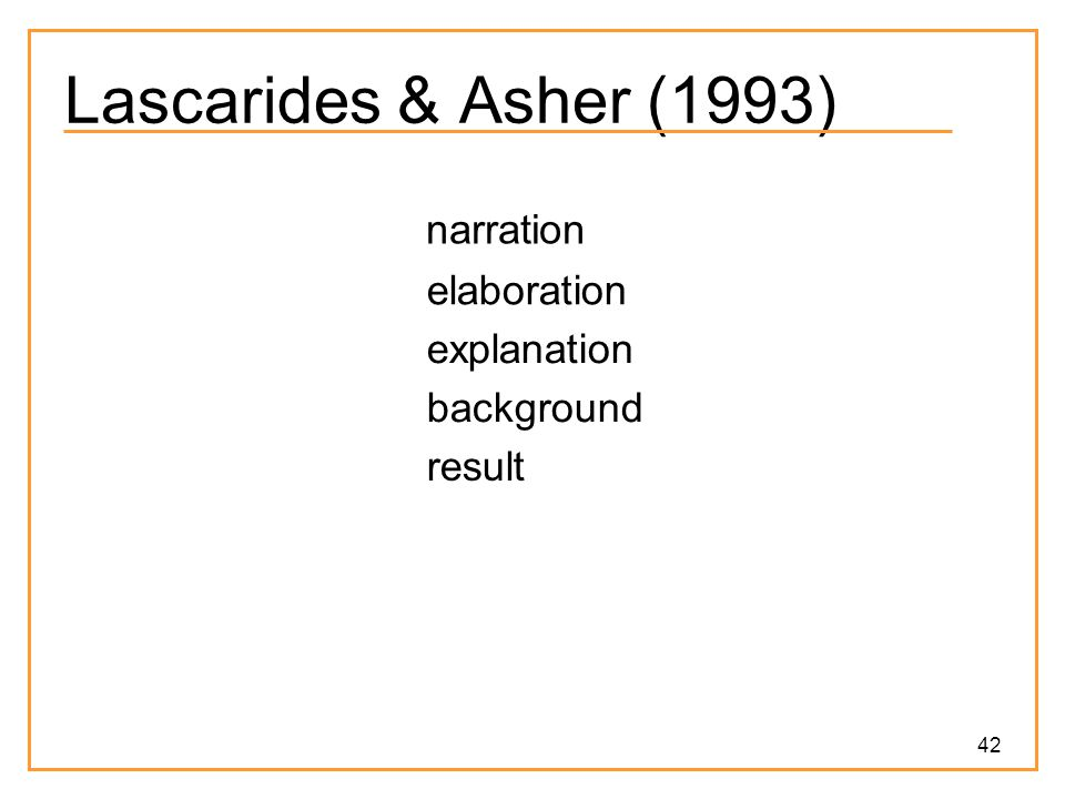Lascarides & Asher (1993) narration elaboration explanation background